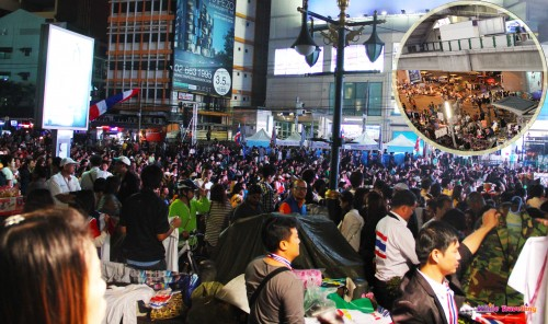 One of the protest areas in Bangkok
