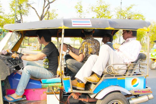 Maximum capacity test for a tuk tuk, Bangkok