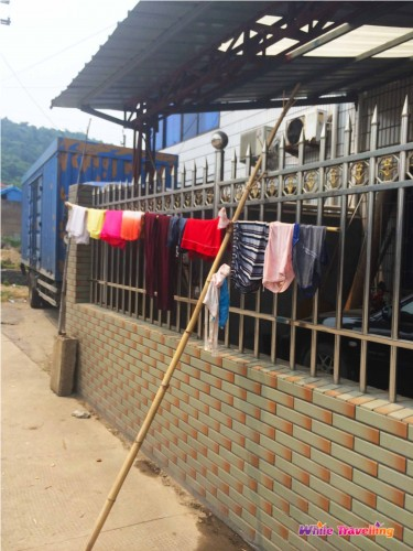 Clothes left to dry outside