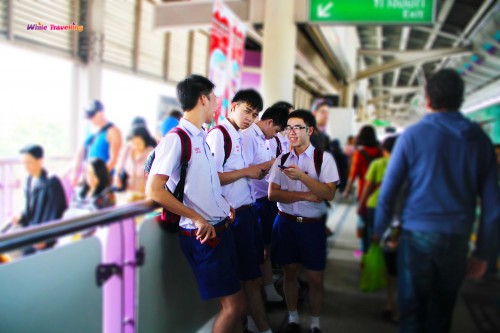 Boys with their school uniforms in Bangkok
