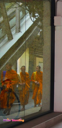 Monks were seen on the street in Bangkok