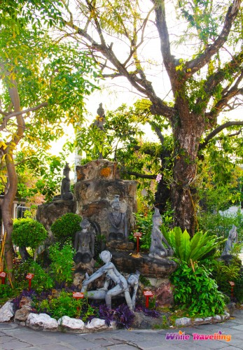 The Rock Garden with decorative plants at Wat Pho in Bangkok