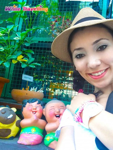 Cuties in front of Chan Cha La 99 Hostel in Bangkok