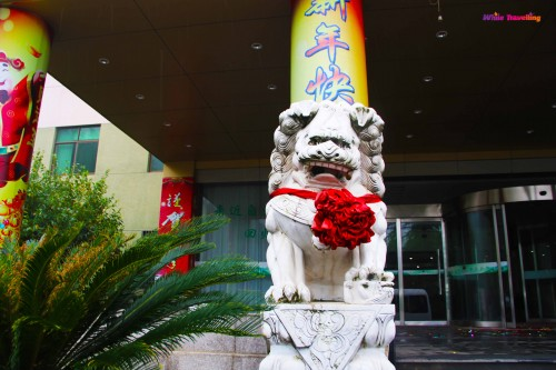The Lion statue in front of the hotel
