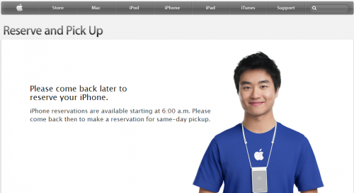 Iphone reservations-  come back later