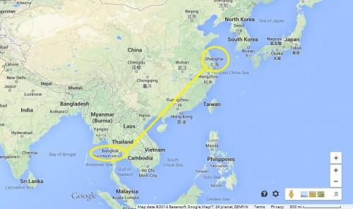 Map Shanghai-Thailand