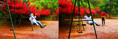 Swinging in a mystical place