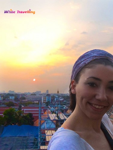 Şafak Tapınağı Wat Arun'da gün batımını seyretmek- Bangkok