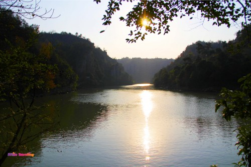 Sunset in Tianzhu Wonderland Scenic Area in Xinchang