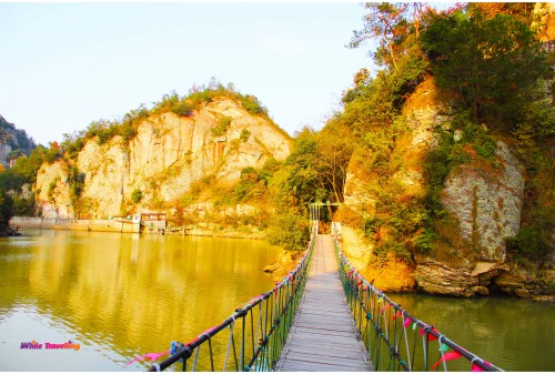 The wooden bridge in Tianzhu Wonderland Scenic Area in Xinchang