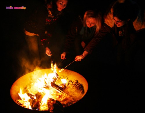 Having s'mores around the campfire in Xinchang