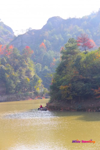 Fisherman in Tianzhu Wonderland Scenic Area in Xinchang