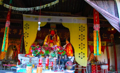 Inside the old temple in Tianzhu Wonderland Scenic Area in Xinchang