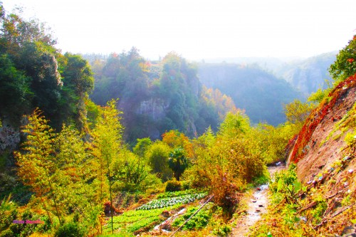 View from the village in Tianzhu Wonderland Scenic Area in Xinchang